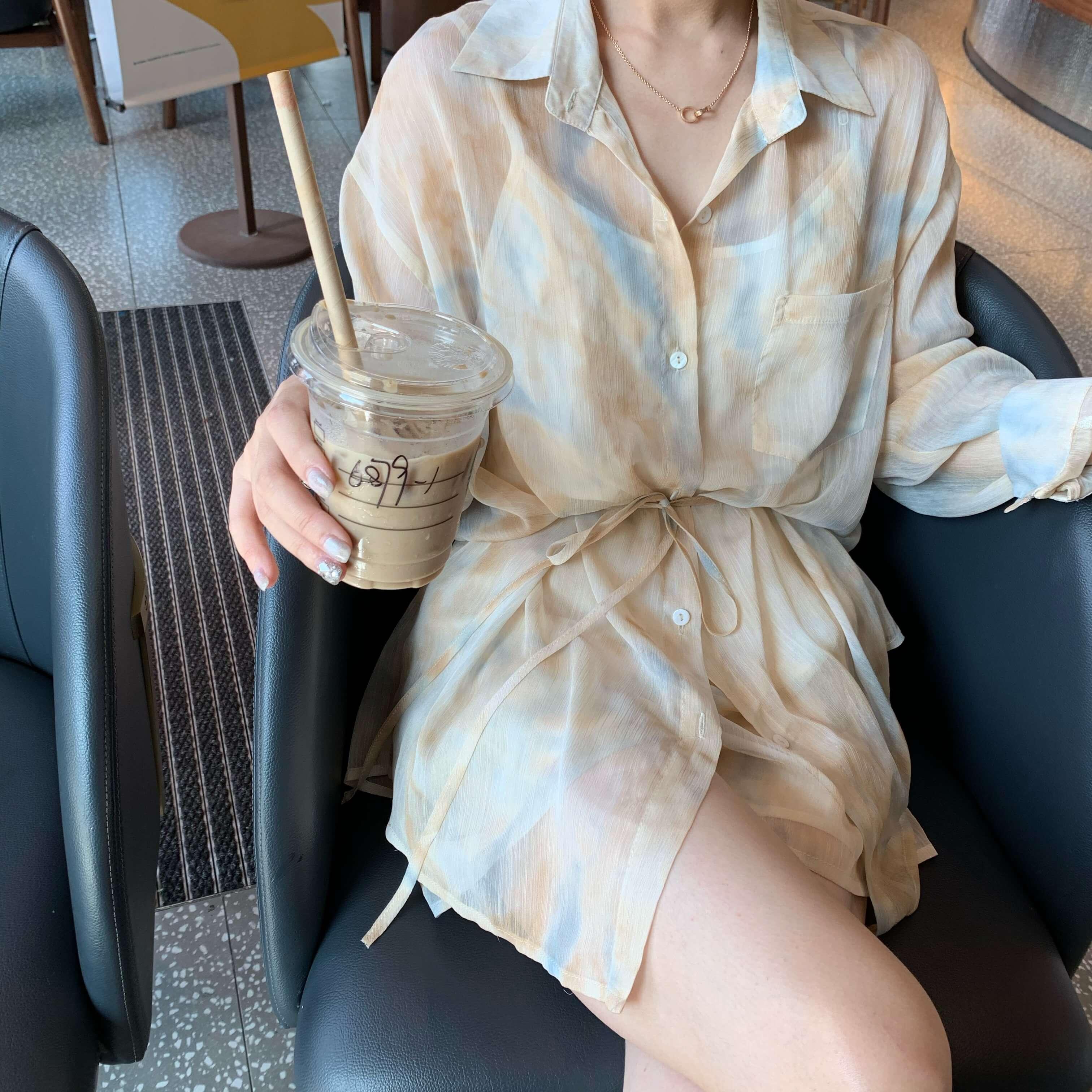 休闲长袖衬衫 夏日清新衬衫套装女长袖防晒衬衫套装 休闲洋气女_推荐淘宝好看的女休闲长袖衬衫