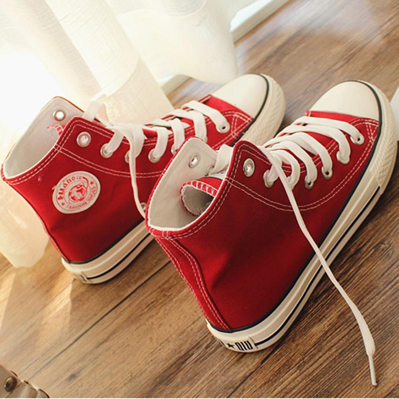 红色高帮鞋 环球红色大码女士高帮帆布鞋40 41 42 43韩版高邦鞋子平跟单鞋潮_推荐淘宝好看的红色高帮鞋