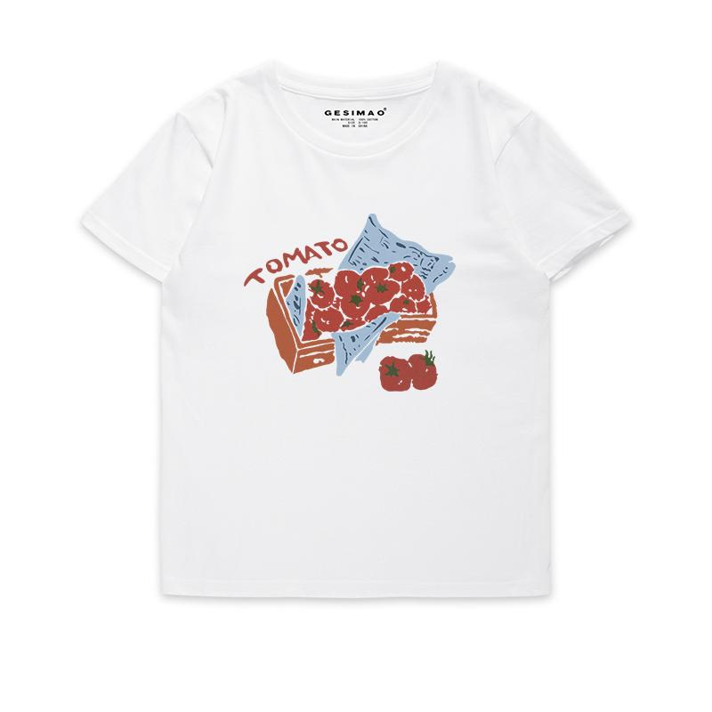 t恤 GESIMAO 酸酸甜甜西红柿 2020新品 小清新 原创设计t恤女百搭短袖_推荐淘宝好看的女t恤