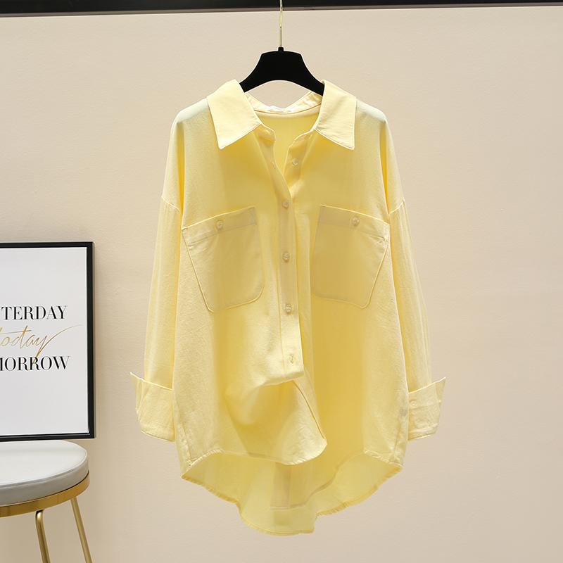 黄色衬衫 黄色衬衫女外套2021春秋新款韩版气质宽松长袖衬衣设计感别致上衣_推荐淘宝好看的黄色衬衫