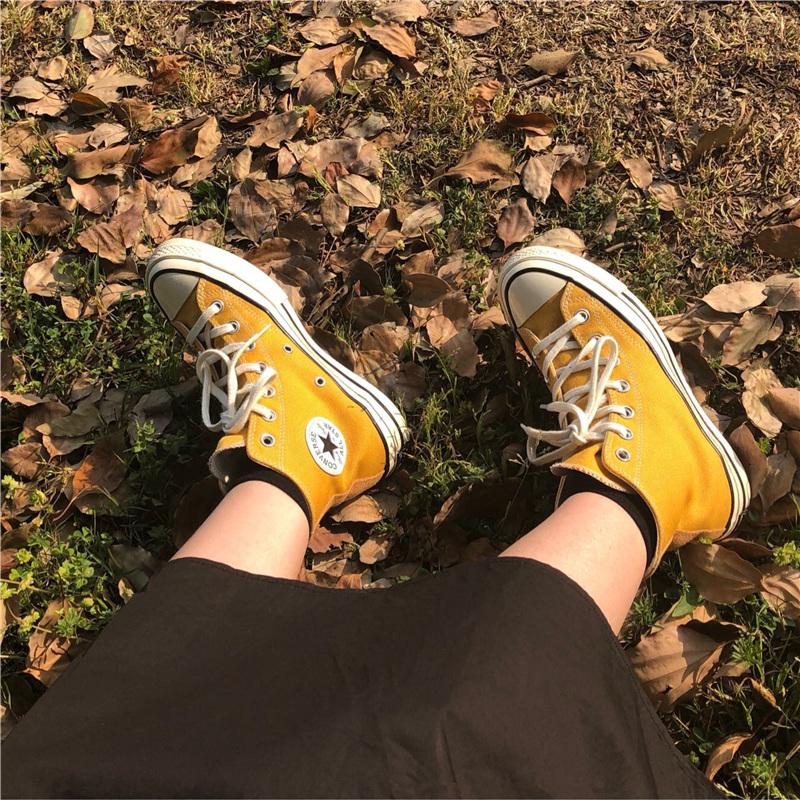 黄色高帮鞋 匡威 Converse 1970s三星标黄色高帮低帮男女情侣帆布鞋162054C_推荐淘宝好看的黄色高帮鞋