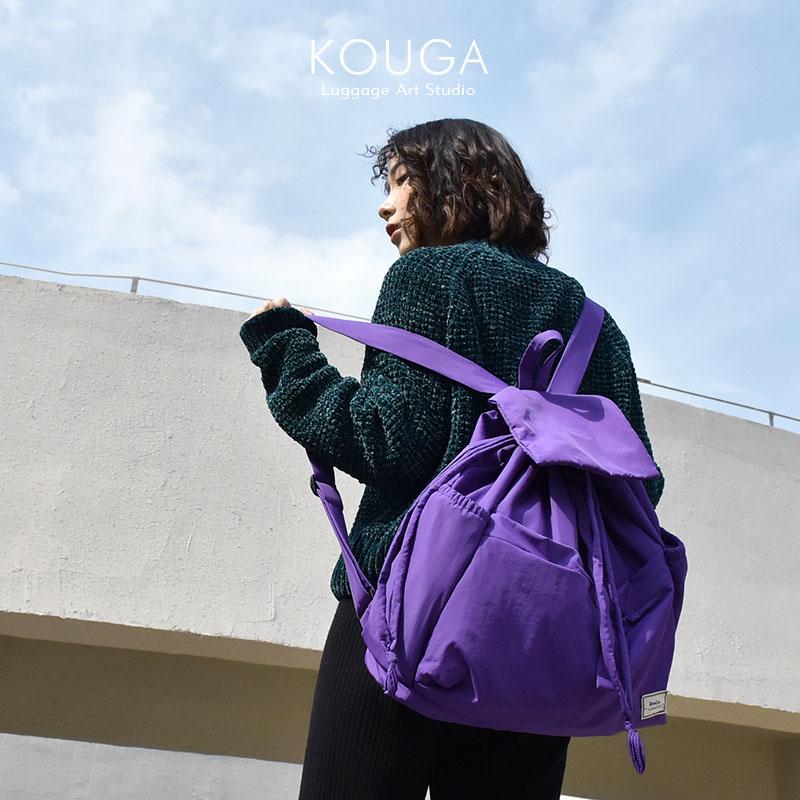 紫色双肩包 口嘎原创紫色轻薄大容量双肩包 简约运动抽绳束口女士包袋可折叠_推荐淘宝好看的紫色双肩包
