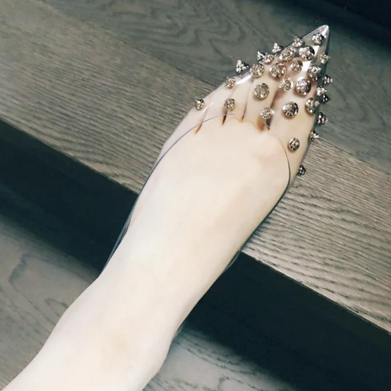 内增高平底鞋 欧美春季套脚鞋PVC软铆钉女鞋尖头透明钉钉平底单鞋内增高浅口鞋_推荐淘宝好看的女内增高平底鞋