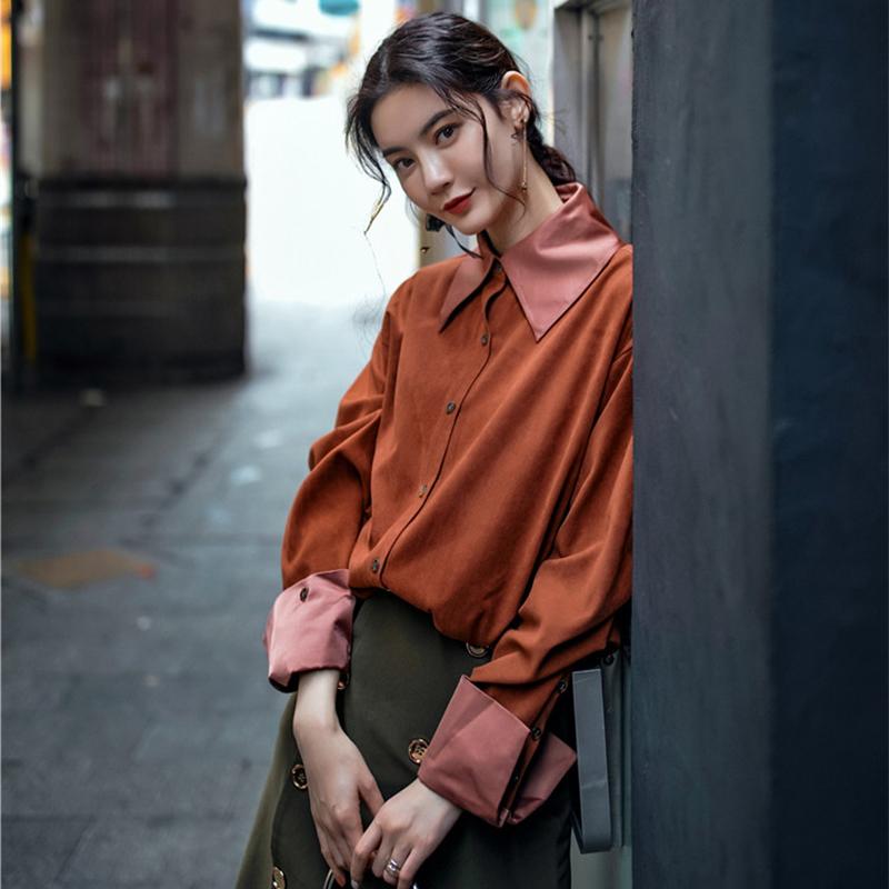 红色衬衫 复古慵懒风立体方领砖红色长袖衬衫女外套春秋chic上衣港味女廓形_推荐淘宝好看的红色衬衫