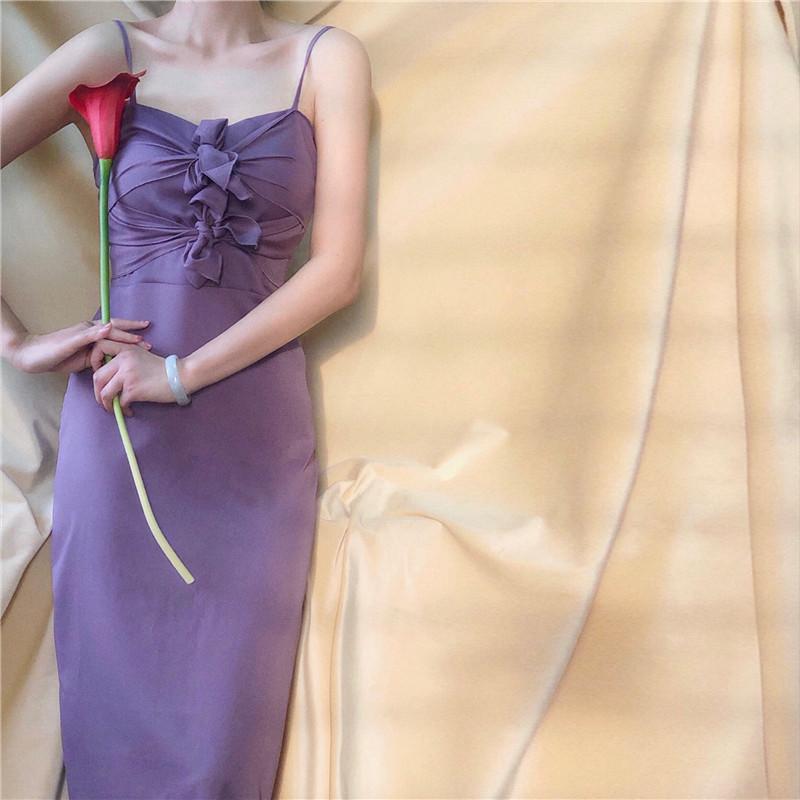 紫色连衣裙 芳同学自制 胸下全是腿的紫色蝴蝶结吊带连衣裙 绿色高腰长裙夏款_推荐淘宝好看的紫色连衣裙