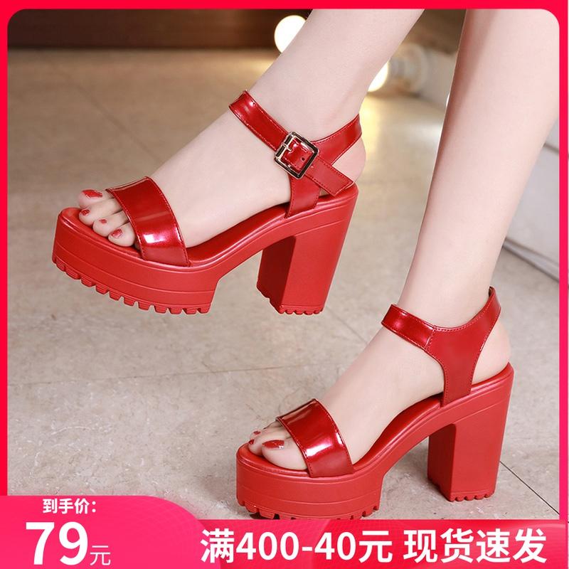 红色厚底鞋 红色婚鞋高跟粗跟凉鞋女夏季厚底防水台漆皮走秀露趾百搭小码凉鞋_推荐淘宝好看的红色厚底鞋