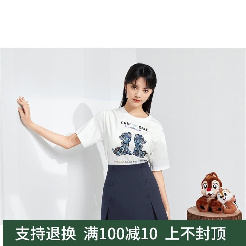 伊芙丽T恤 商场同款伊芙丽微微2021夏新款圆领T恤白色宽松短袖1C3200171_推荐淘宝好看的伊芙丽T恤