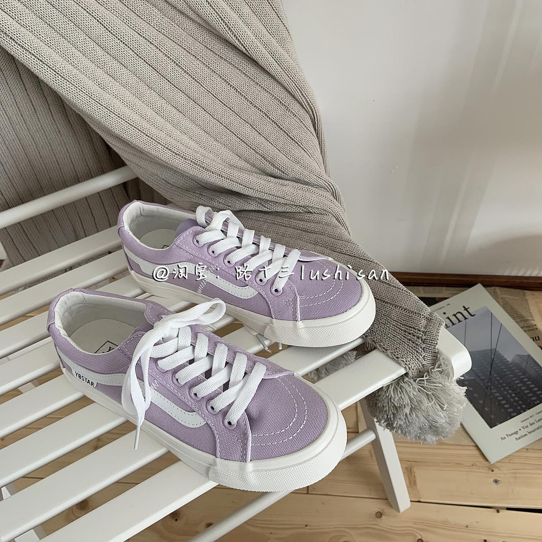 紫色帆布鞋 盐系紫色低帮帆布鞋女ulzzang原宿百搭港风韩版学生chic板鞋ins潮_推荐淘宝好看的紫色帆布鞋