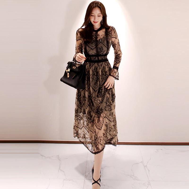 黑色蕾丝连衣裙 2020年流行裙子女装秋季新款很仙的两件套韩版镂空黑色蕾丝连衣裙_推荐淘宝好看的黑色蕾丝连衣裙
