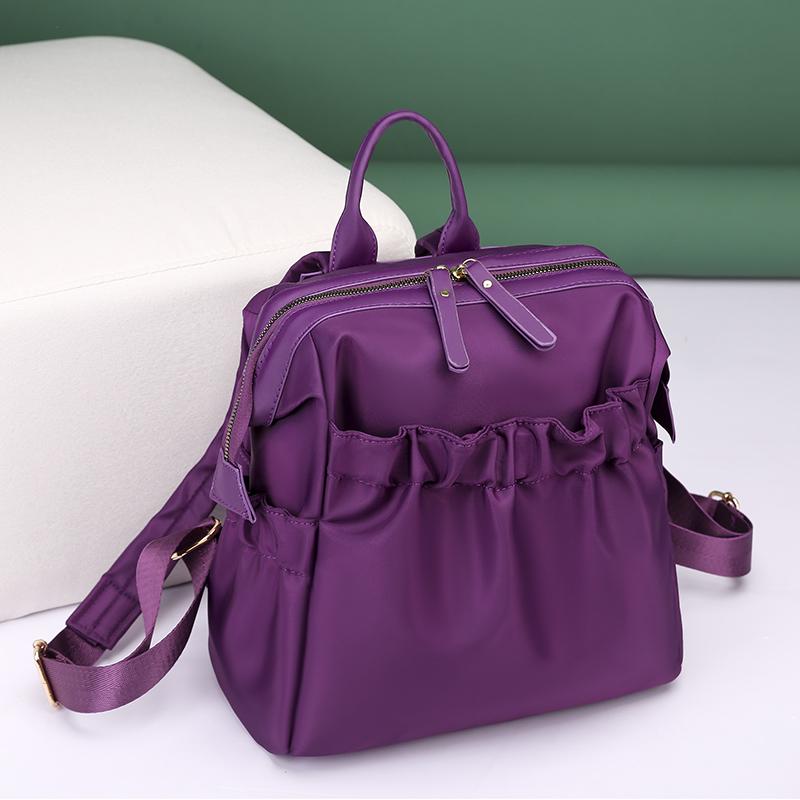 紫色双肩包 牛津纺双肩包女紫色竖款时尚百搭大容量简约背包旅行女士方形小包_推荐淘宝好看的紫色双肩包