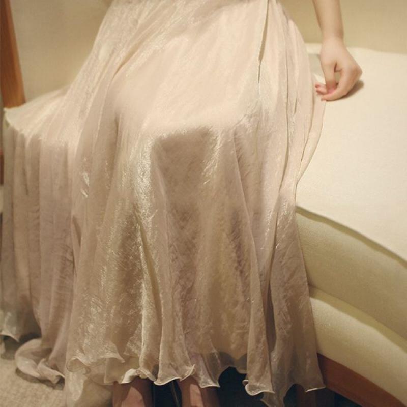 半身长裙子 温柔金丝双层雪纺大摆裙闪闪光泽仙女飘逸半身裙度假长裙轻纱裙_推荐淘宝好看的半身长裙