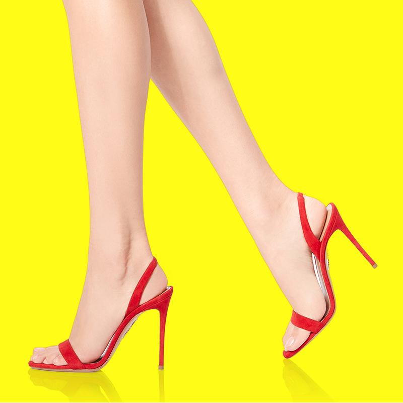 红色罗马鞋 2020年夏天新款红色高跟凉鞋女细跟一字带10CM极简约百搭性感罗马_推荐淘宝好看的红色罗马鞋