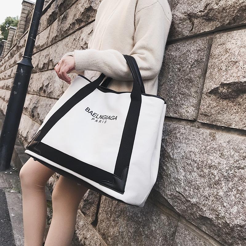 欧美手提包 大包包2018新款女包欧美时尚帆布包潮字母单肩包大容量斜挎手提包_推荐淘宝好看的女欧美手提包