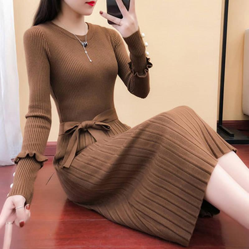 针织衫 秋冬季新款韩版女装长款针织衫连衣裙长袖毛衣裙打底百褶裙p124_推荐淘宝好看的女针织衫