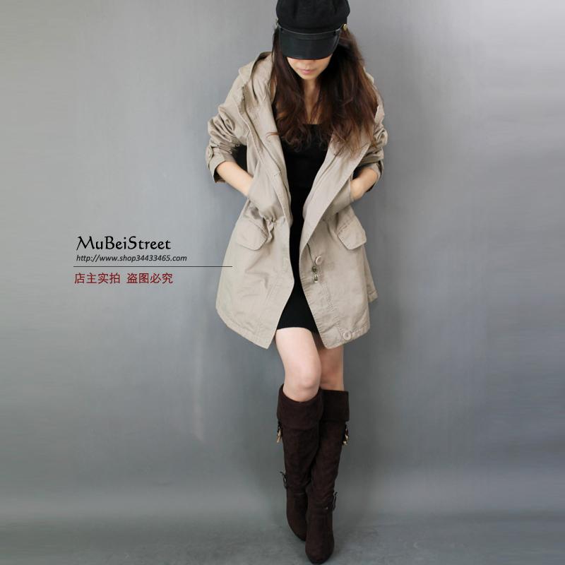 修身风衣 秋冬款新品布衣风格宽松可收腰风衣女修身有大码连帽款外套_推荐淘宝好看的女修身风衣