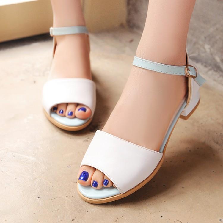 粉红色凉鞋 女鞋蓝色白色玫红粉红色低跟凉鞋学生鞋小码 32 特大码  48 XAEJ_推荐淘宝好看的粉红色凉鞋