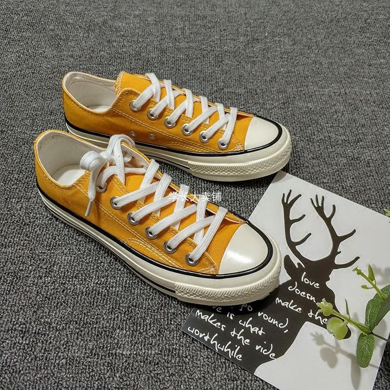 黄色运动鞋 韩国ulzzang1970s三星标复刻2020夏季新款学生运动黄色低帮帆布鞋_推荐淘宝好看的黄色运动鞋
