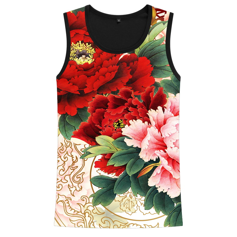 男装品牌 植物花牡丹玫瑰中国风印花网眼背心潮牌男装学生夏天无袖T恤衣服_推荐淘宝好看的男装