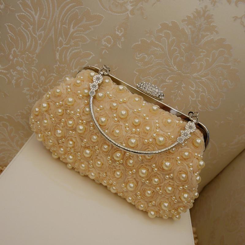 白色手拿包 2021新款珍珠水钻手拿包白色新娘结婚手包链条包宴会包礼服包女包_推荐淘宝好看的白色手拿包