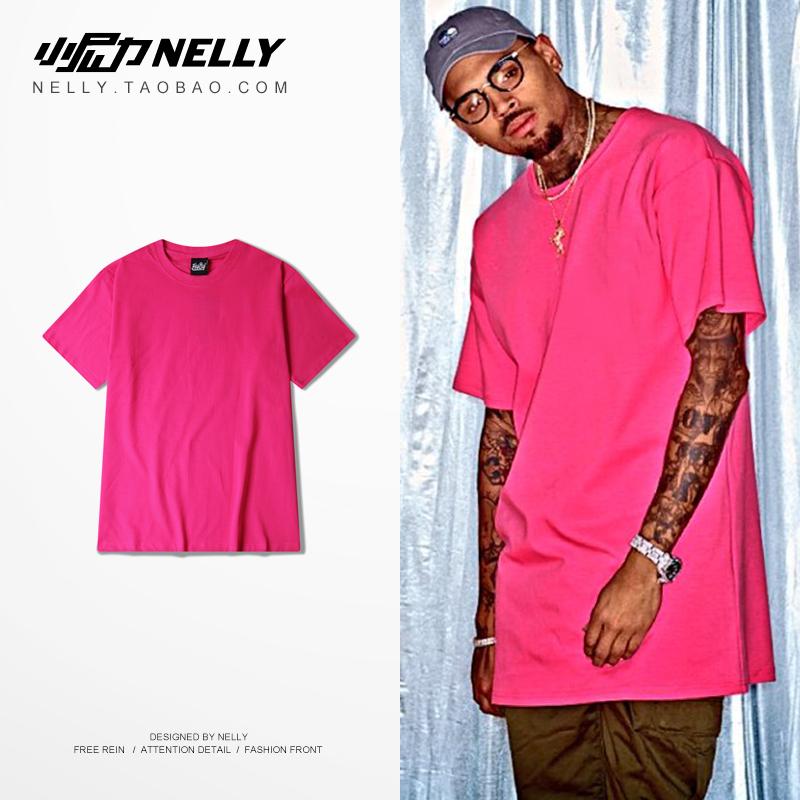 粉红色T恤 2021 高街暗黑OVERSIZE宽松 粉红色 枚红色 t-shirt纯色短T恤男女_推荐淘宝好看的粉红色T恤