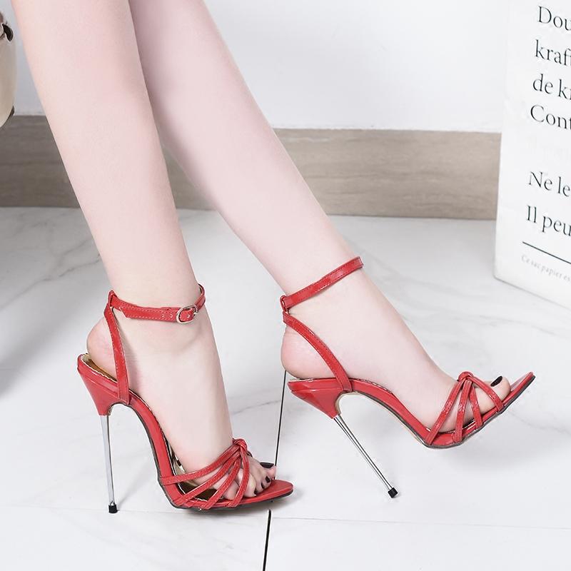 红色高跟鞋 2018 夏新款 13cm红色金属跟尖头细跟大码超高跟走秀鞋_推荐淘宝好看的红色高跟鞋