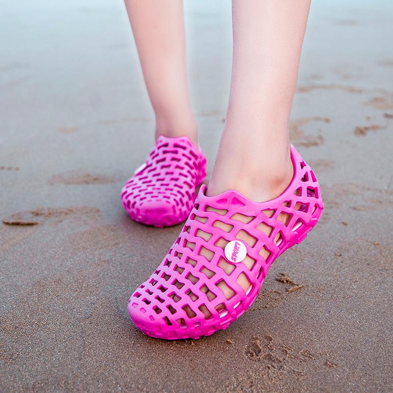 沙滩女凉鞋 若步夏季甜美时尚洞洞鞋户外防滑沙滩凉鞋情侣鞋休闲潮拖凉拖女鞋_推荐淘宝好看的女沙滩凉鞋