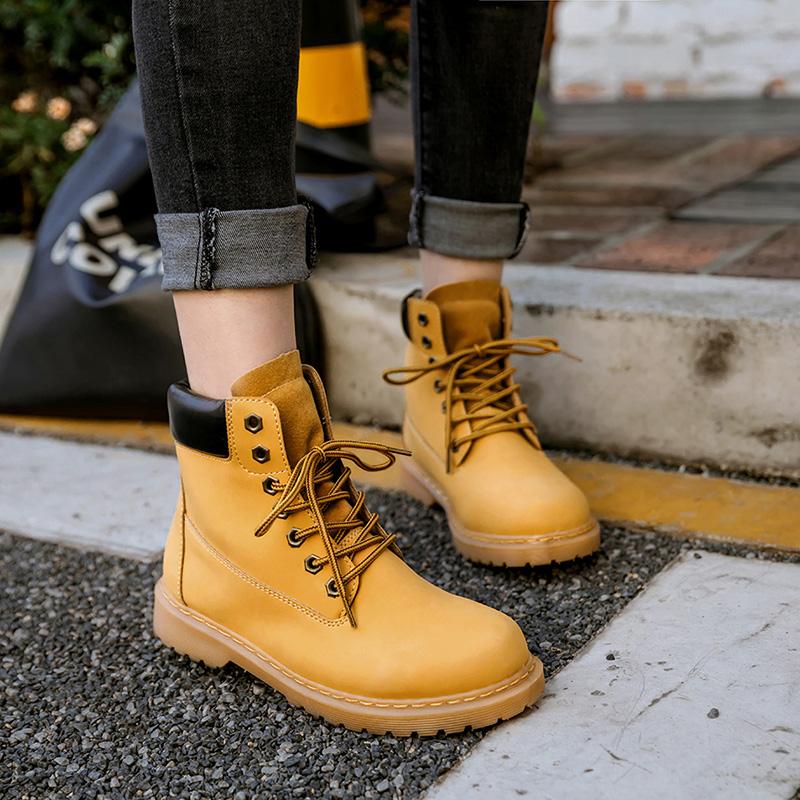 圆头短靴 韩国chic马丁靴复古大头鞋女工装鞋大黄靴圆头厚底短靴女靴子加绒_推荐淘宝好看的女圆头短靴