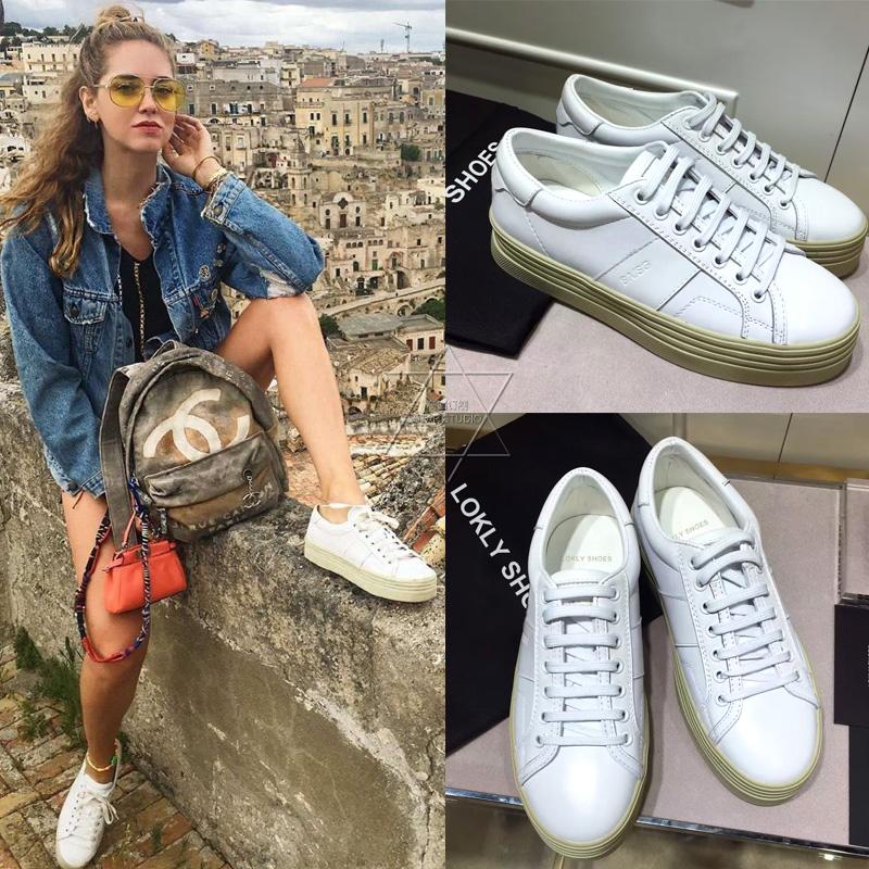 欧美松糕鞋 2016秋欧美小白鞋运动板鞋女中跟厚底松糕底真皮系带雪梨明星同款_推荐淘宝好看的女欧美松糕鞋