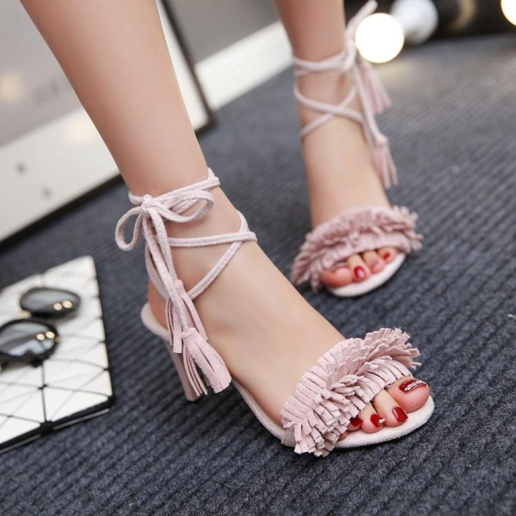 粉红色凉鞋 女鞋脚腕帮带粉红色灰色红色婚鞋新娘高跟大码凉鞋 43 小码33 CH_推荐淘宝好看的粉红色凉鞋