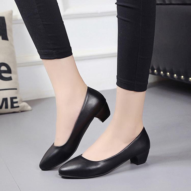 粗跟尖头鞋 3cm小低跟粗跟单鞋黑色皮鞋职业中跟工装OL正装浅口尖头空姐女鞋_推荐淘宝好看的粗跟尖头鞋