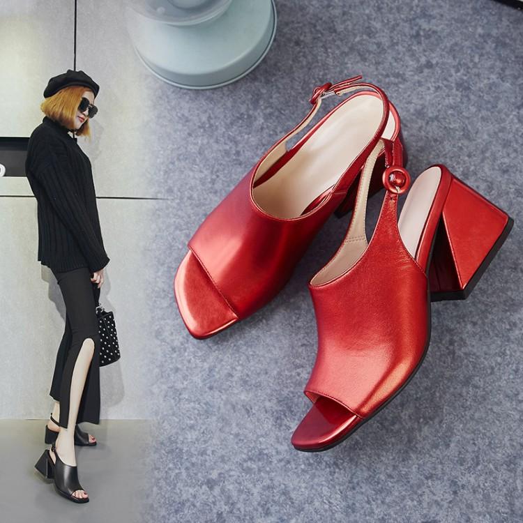 红色罗马鞋 粗跟凉鞋女夏2021新款真皮高跟罗马女鞋欧美百搭一字扣红色鱼嘴鞋_推荐淘宝好看的红色罗马鞋