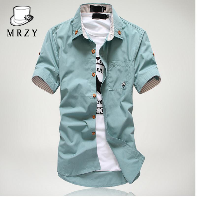 绿色衬衫 美仁智衣20夏装多色舒适男士短袖衬衫修身韩版休闲衬衣浅绿色寸衫_推荐淘宝好看的绿色衬衫