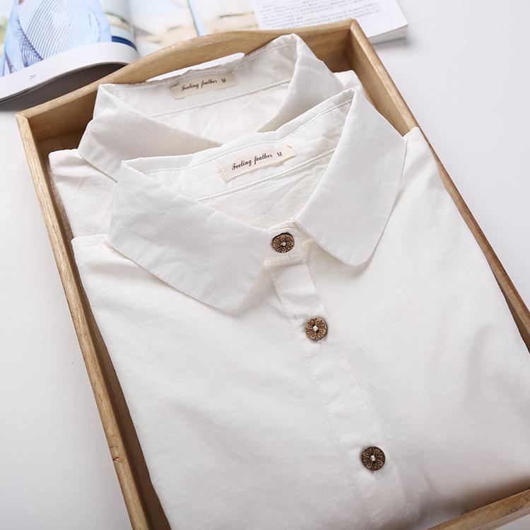 衬衫 白色加绒衬衫女士职业装长袖娃娃领纯棉正装修身显瘦秋冬打底衬衣_推荐淘宝好看的女衬衫