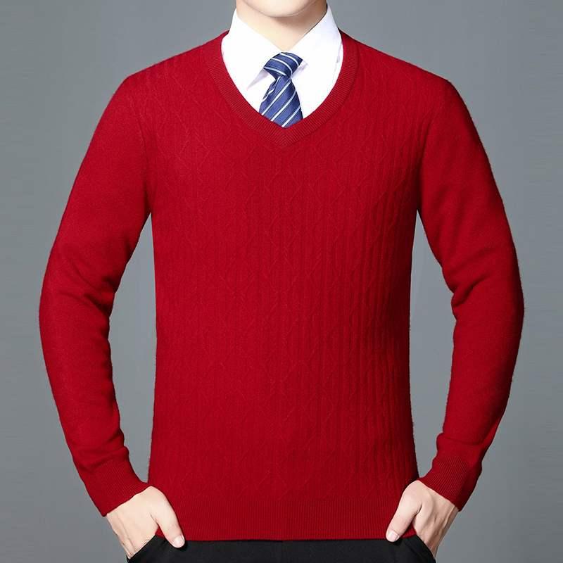 男士羊绒毛衣 喜公公婚宴装父亲婚礼爸爸装秋冬装羊绒衫套头V领针织衫男士毛衣_推荐淘宝好看的男羊绒毛衣