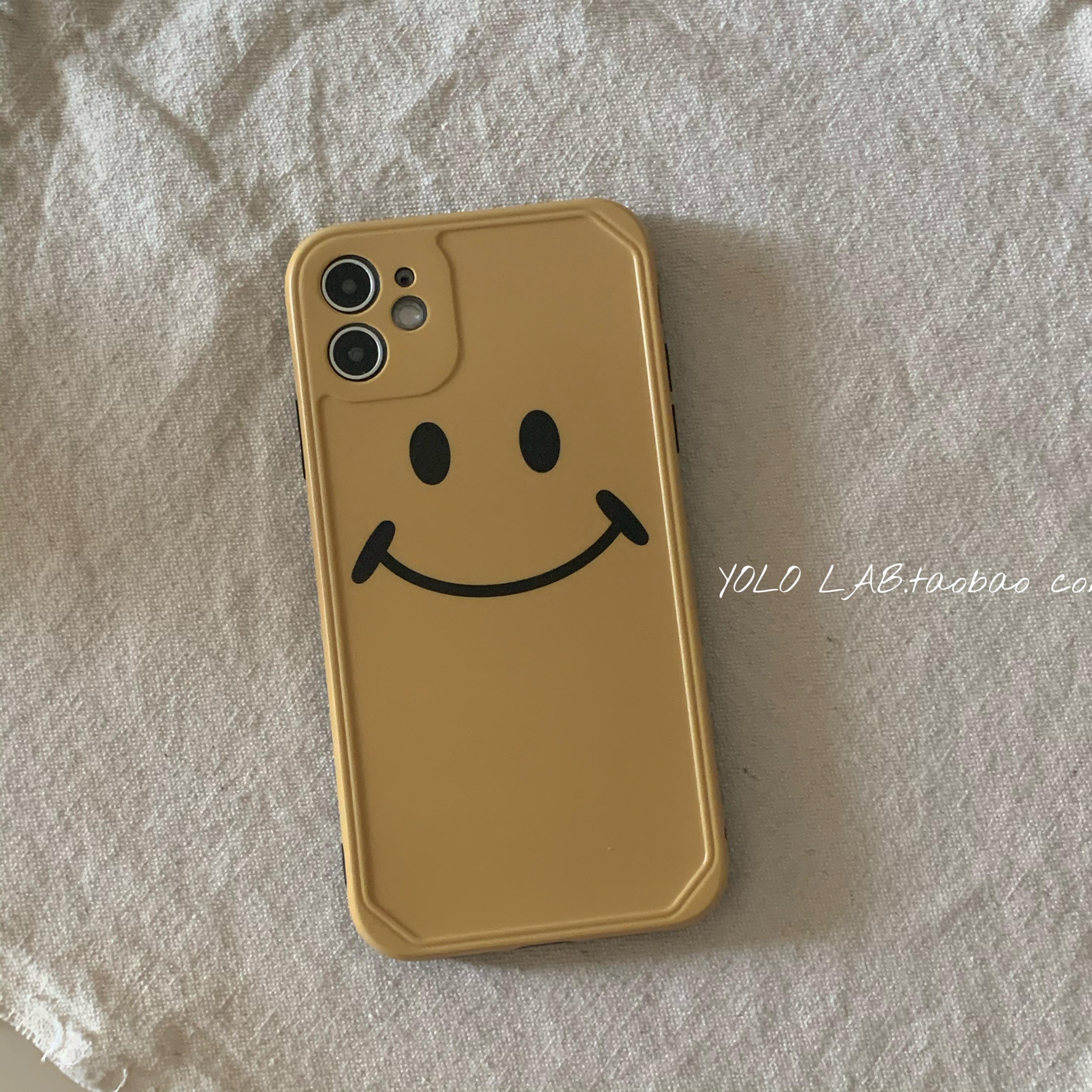 黄色复古包 姜黄色笑脸复古简约ins风适用于苹果12iphonsX手机壳XR全包max_推荐淘宝好看的黄色复古包