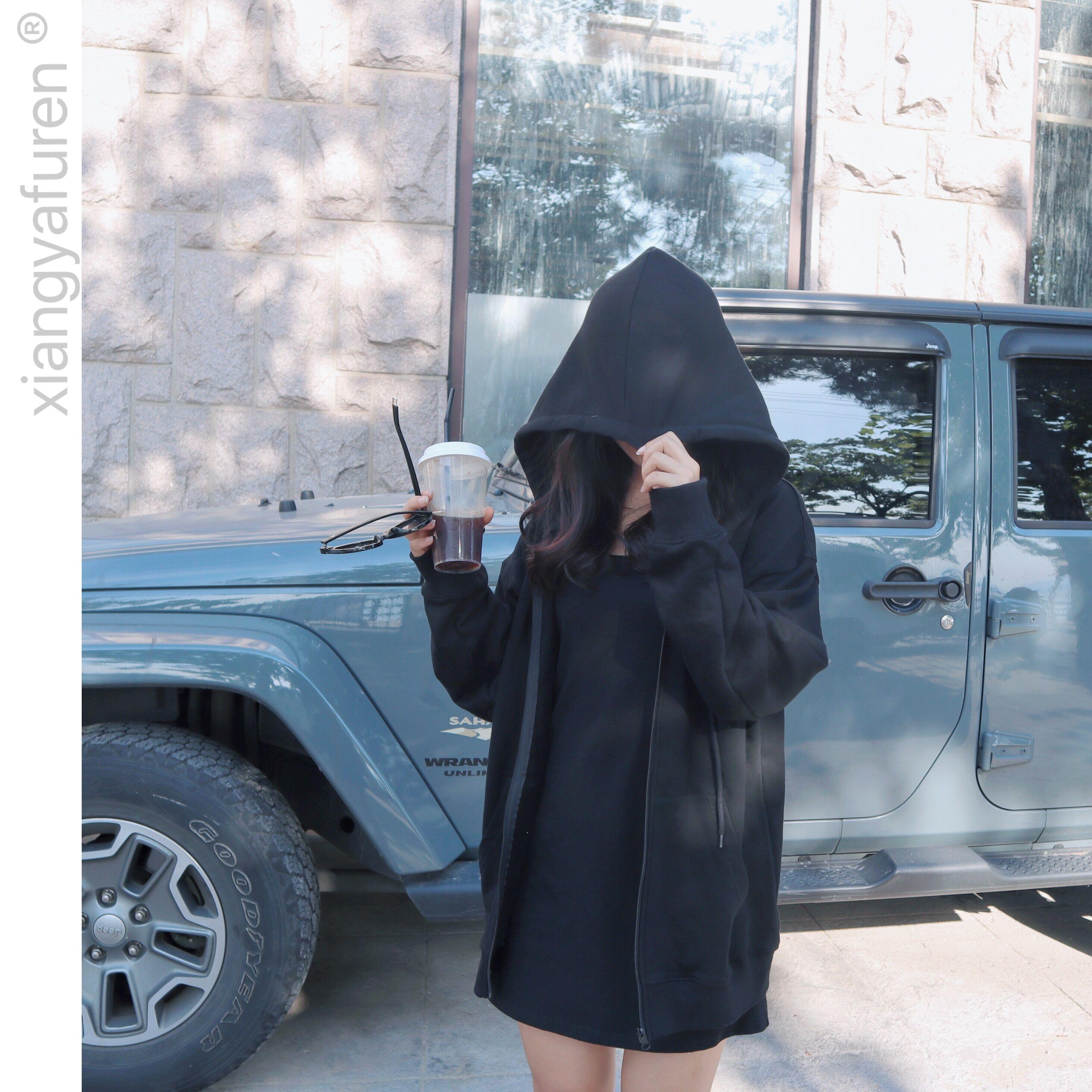 黑色卫衣 象牙夫人春秋新款拉链连帽卫衣外套女黑色百搭宽松bf风韩版开衫潮_推荐淘宝好看的黑色卫衣