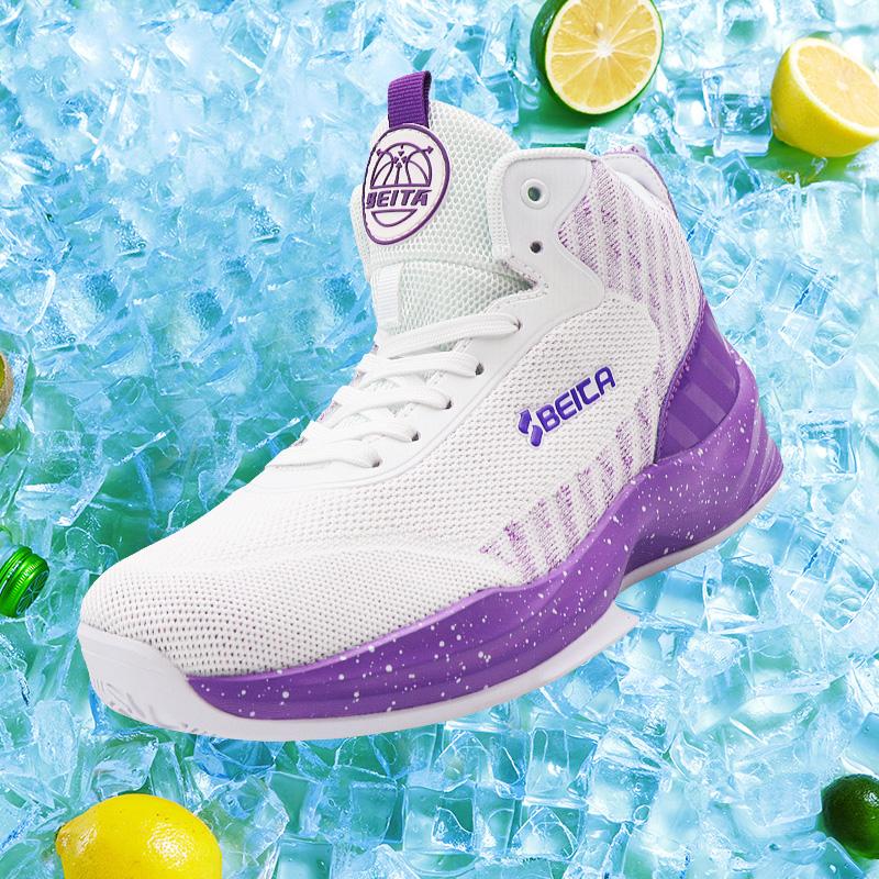 紫色高帮鞋 夏季新款男士篮球鞋大码防滑透气室内高帮男子水泥地耐磨紫色球鞋_推荐淘宝好看的紫色高帮鞋