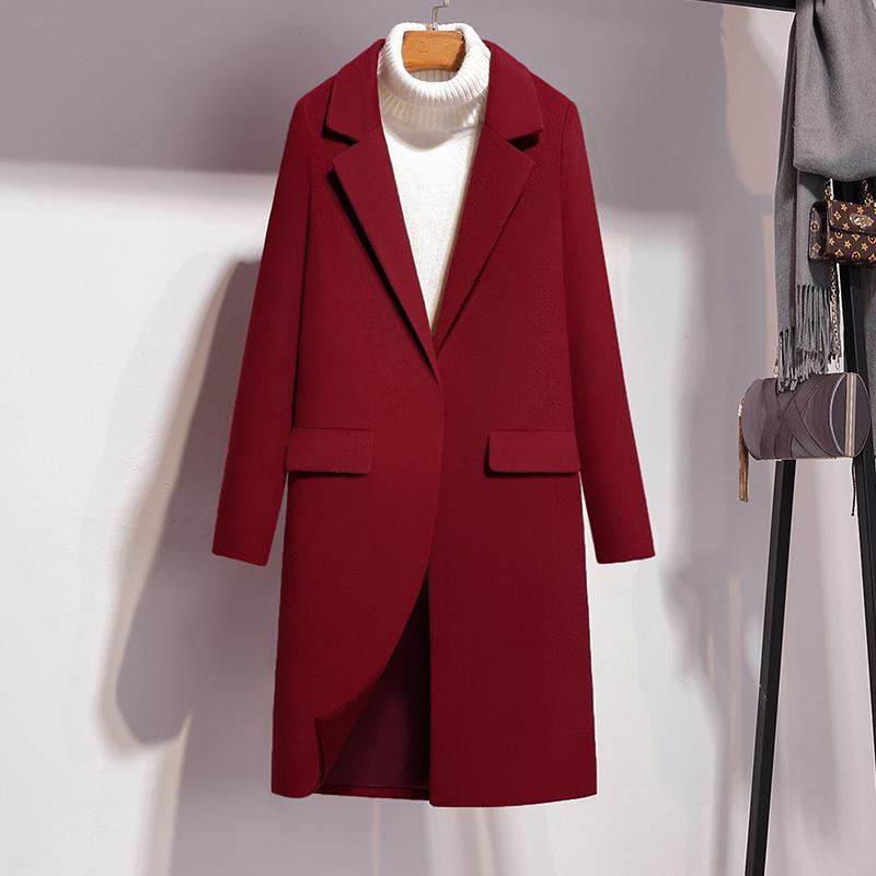 女士小西服外套 赫本风毛呢大衣女时尚2020秋冬中长款韩版修身小个子长袖毛呢外套_推荐淘宝好看的女小西服外套