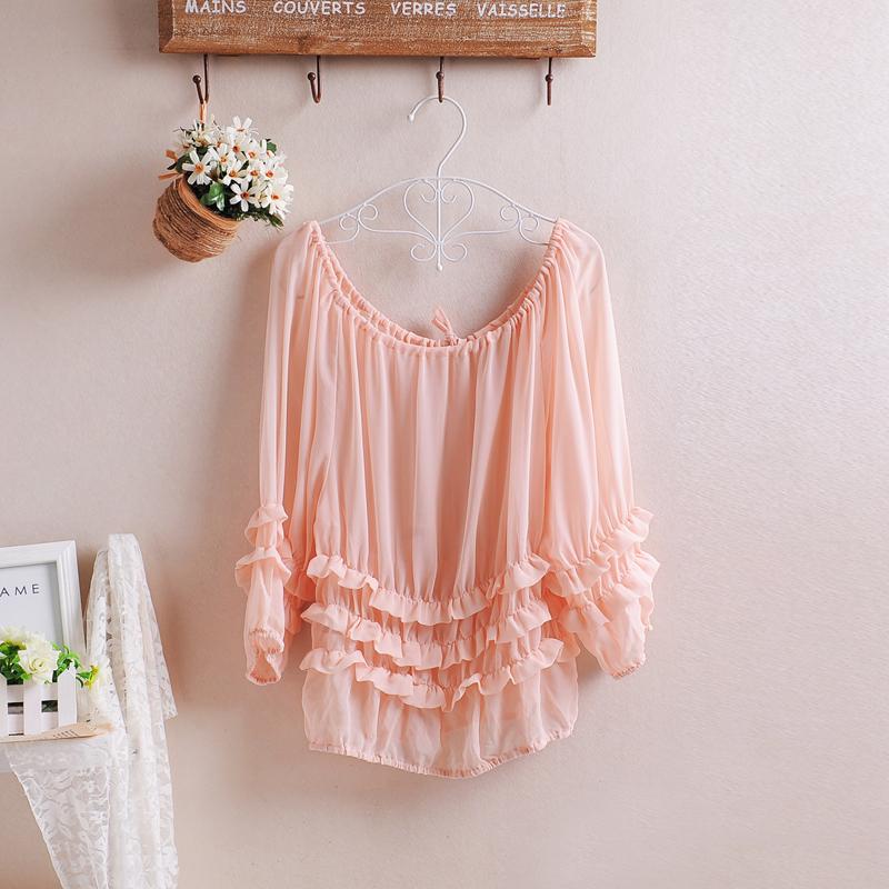 粉红色雪纺衫 大码女装2021春夏气质T恤甜美中袖宽松雪纺衫系带粉红色上衣有袖_推荐淘宝好看的粉红色雪纺衫