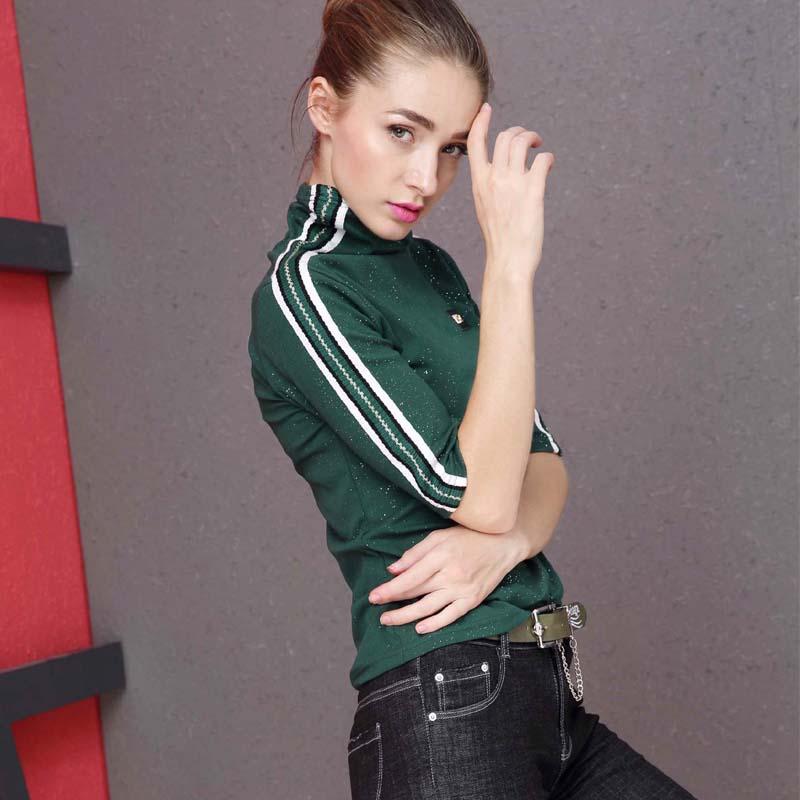 绿色T恤 绿色纯棉长袖t恤新款时尚高领七分袖打底衫女士大码宽松中袖上衣_推荐淘宝好看的绿色T恤