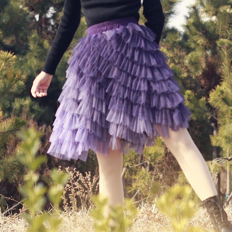 紫色半身裙 2021春夏新款紫色渐变短款蛋糕裙高腰蓬蓬裙多层次不规则半身裙_推荐淘宝好看的紫色半身裙