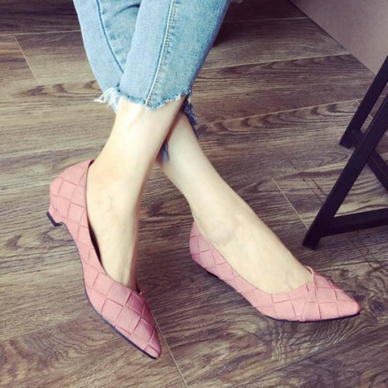 气质小单鞋 包邮鞋子女韩版百搭气质尖头低跟单鞋女欧版格子大码女鞋_推荐淘宝好看的女气质单鞋