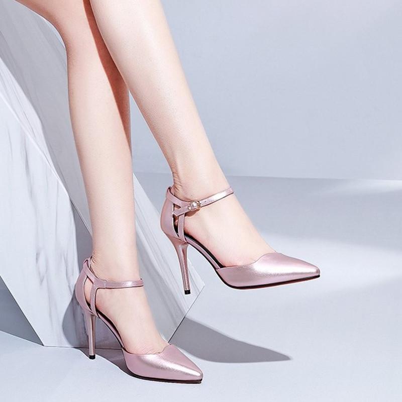 高跟鞋 2021春夏新款细高跟尖头女凉鞋大码41.42小码33.32女扣带家居女鞋_推荐淘宝好看的女高跟鞋