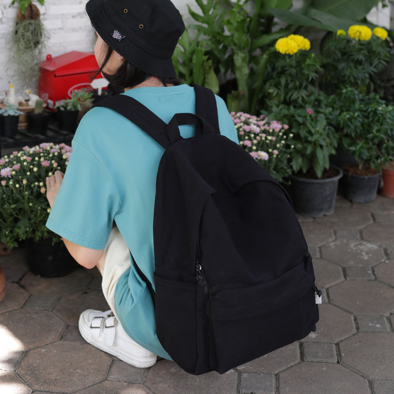 黑色帆布包 书包女夏大学生简约纯黑帆布包男黑色日系高中生学生ins风双肩包_推荐淘宝好看的黑色帆布包