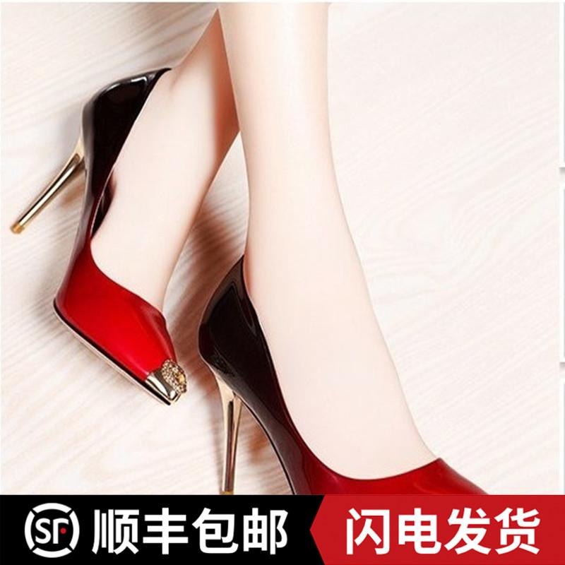 中国高跟鞋 2020新款牛皮女单鞋 细高跟透气时尚渐变漆皮尖头小码女单鞋_推荐淘宝好看的女高跟鞋