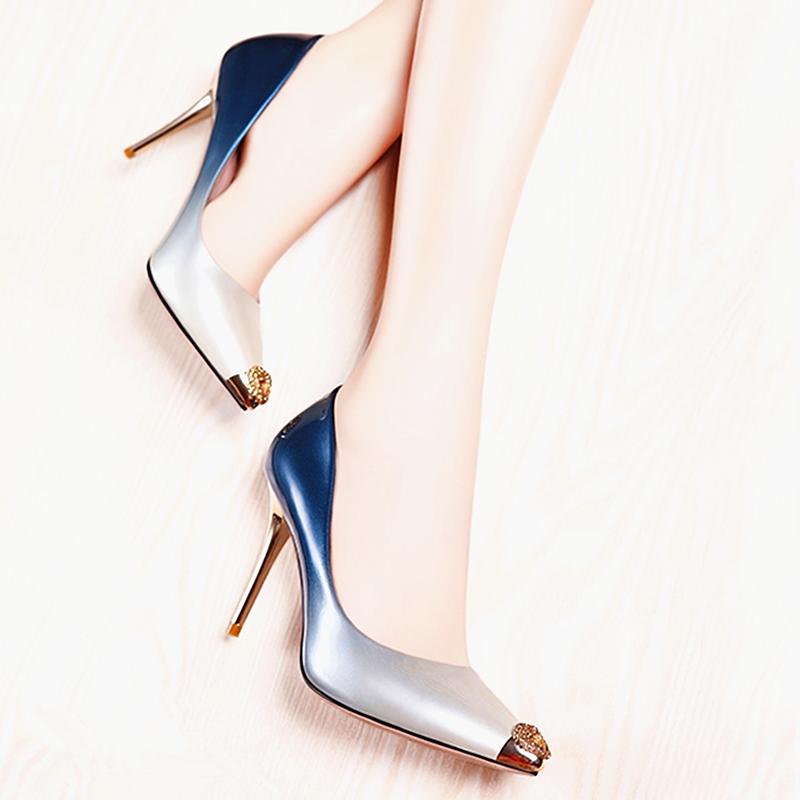 高跟鞋 2021新款牛皮女单鞋 细高跟透气时尚渐变漆皮尖头小码女单鞋_推荐淘宝好看的女高跟鞋