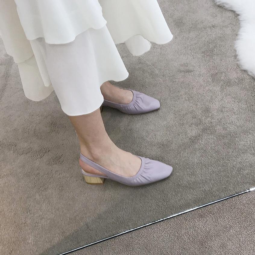 紫色凉鞋 韩国网红高跟鞋女夏新款包头凉鞋紫色温柔仙女一字带皱褶粗跟单鞋_推荐淘宝好看的紫色凉鞋