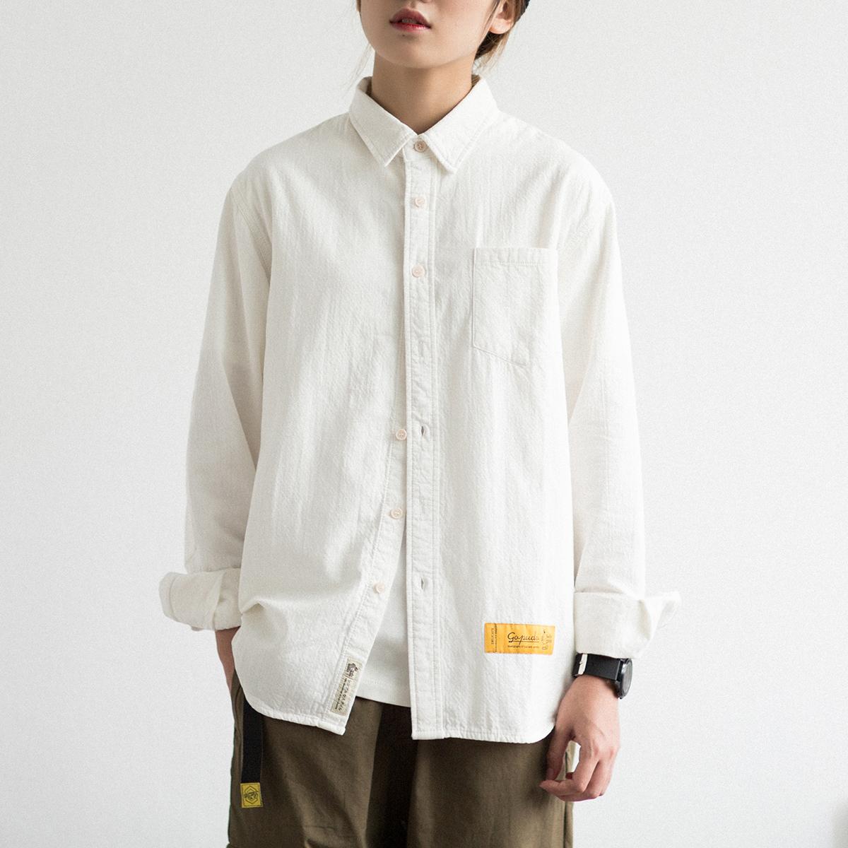 黄色衬衫 EpicSocotra日系文艺纯棉长袖衬衫 男女同款BF风学生春季宽松衬衣_推荐淘宝好看的黄色衬衫
