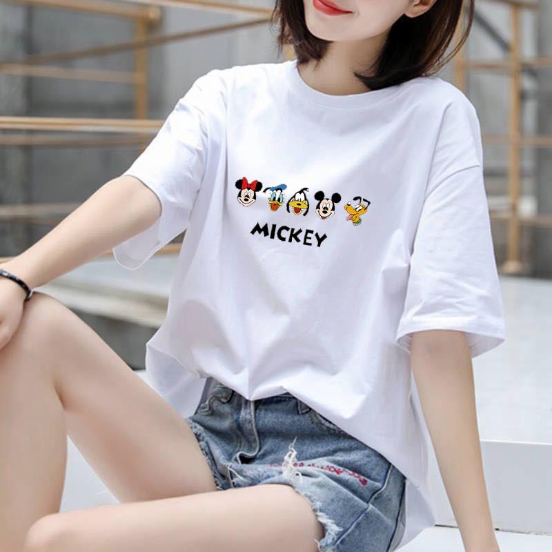 空白t恤 100%纯棉2020韩版新款夏季纯棉短袖t恤女空白版米奇_推荐淘宝好看的女空白t恤
