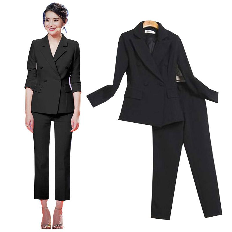 黑色小西装 纯黑白色时尚职业套装女裤两件套韩国修身显瘦双排扣小西装外套潮_推荐淘宝好看的黑色小西装